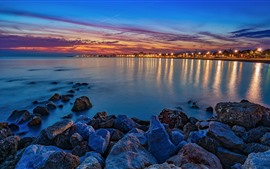 Preview wallpaper Night, sea, lights, rocks, city, Spain