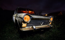 Preview wallpaper Old car, night, front view, headlight