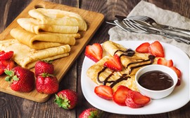 Pancakes, coffee, strawberry, breakfast
