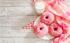 Preview wallpaper Pink donut, milk, food, breakfast