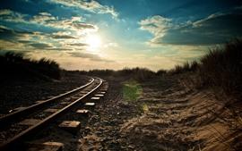 Railroad, sun, morning