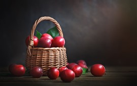 Preview wallpaper Red plums, delicious fruit, basket