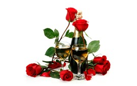 Preview wallpaper Red roses, champagne, white background