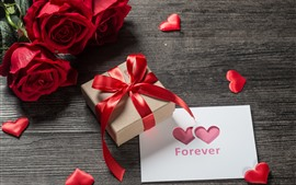 Preview wallpaper Red roses, gift, love hearts, romantic