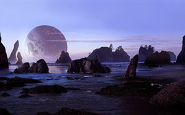 Preview wallpaper Rocks, sea, planet
