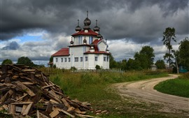 Preview wallpaper Russia, church, clouds, path, trees, wood