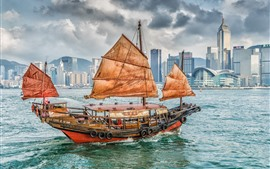 Sailboat, sea, skyscrapers, Hong Kong