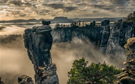 Preview wallpaper Saxon Switzerland, Elbe Sandstone Mountains, fog, morning, clouds