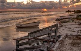 Mar, barcos, praia, ondas
