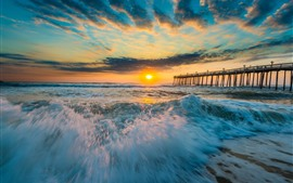Preview wallpaper Sea, coast, waves, foam, pier, sunset, clouds