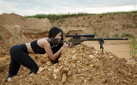 Preview wallpaper Sniper, weapon, rifle, girl, pose
