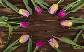 Preview wallpaper Some pink tulips, round, wood board background