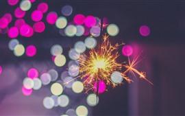 壁紙のプレビュー 火花、夜、カラフルな光の円