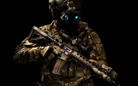 Preview wallpaper Special forces, helmet, assault rifle