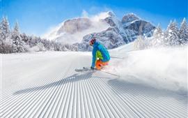 預覽桌布 運動,滑雪,雪,山,冬天