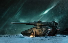 Tank, soldier, snowy, north light, night