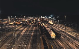 Train station, railroad, night