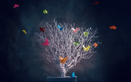 Preview wallpaper Tree, colorful butterfly, creative picture