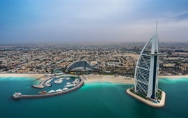 Preview wallpaper UAE, Dubai, hotel, city, coast, yachts