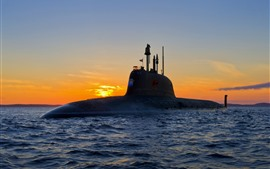 Arma, submarino, mar, ondas, por do sol