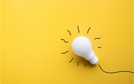 Preview wallpaper White bulb, yellow background