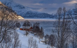 Preview wallpaper Winter, mountains, trees, snow, house, lake