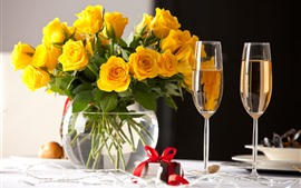 Preview wallpaper Yellow roses, bouquet, vase, two cups of champagne, gift