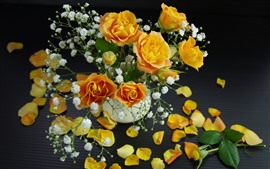 Preview wallpaper Yellow roses, petals, white little flowers, bouquet