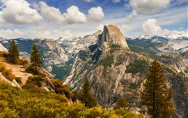 Preview wallpaper Yosemite National Park, mountains, trees, clouds, top view, USA