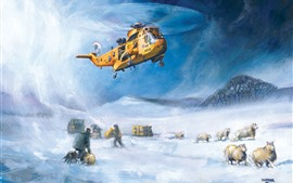 Preview wallpaper Art painting, helicopter, rescuers, sheep, snow, winter