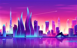 Art vector picture, city, purple style, skyscrapers, Dubai