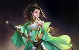 Preview wallpaper Beautiful fantasy girl, green skirt, sword