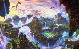 Vorschau des Hintergrundbilder Schöne Fantasiewelt, Regenbogen, Drache, Berge, Wasserfall