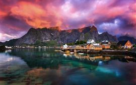 Красивый фьорд, деревня, Норвегия, озеро, облака, утро