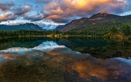 Preview wallpaper Beautiful nature landscape, mountains, lake, water reflection, clouds