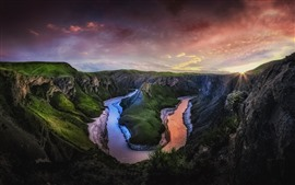 Preview wallpaper Bend river, mountains, clouds, dusk, sunset