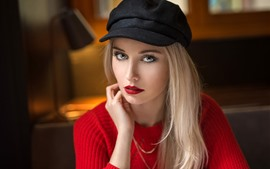 Preview wallpaper Blonde girl, hat, red sweater
