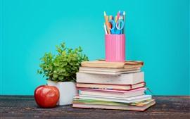 Libros, manzana roja, lápices, bodegones.