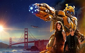 Preview wallpaper Bumblebee, Transformers, bridge, stars