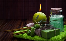 Preview wallpaper Candle, flame, green soap, olives