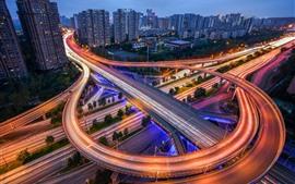 미리보기 배경 화면 중국, 고속도로, 조명, 밤, 고층 빌딩, 도시