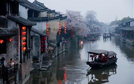 China, aldeia, rio, primavera, flores
