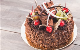 Шоколадный торт, вишня