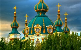 Preview wallpaper Church, Ukraine, clouds, trees, city