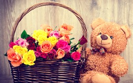 Preview wallpaper Colorful roses, basket, teddy bear