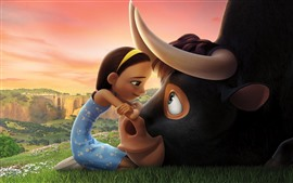 Preview wallpaper Cute girl and bull, cartoon movie