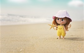 Preview wallpaper Cute little girl, child, doll, beach