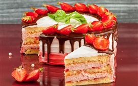 Preview wallpaper Delicious cake, strawberry, cream, chocolate