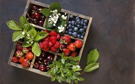 Preview wallpaper Delicious fruit, box, strawberry, blueberry, cherry