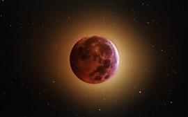 Затмение, луна, свечение